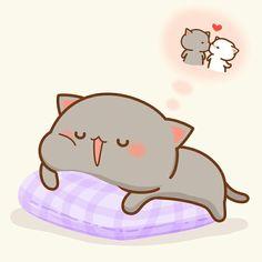 Cute Cats in the World Cute Cartoon Images, Cute Couple Cartoon, Cute Love Cartoons, Cute Cartoon Wallpapers, Cat Couple, Cute Love Gif, Cute Love Pictures, Chibi Cat, Cute Chibi