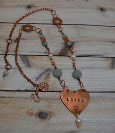 "Rustic ""Loved"" Handstamped Copper Heart Pendant Necklace with Amazonite Carved Flower beads and Freshwater Pearls, adj length 19""-22"" on Etsy, $52.00"