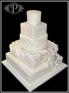 Quilted Pearlized Butter Cream Wedding Cake with Fondant Quilting: