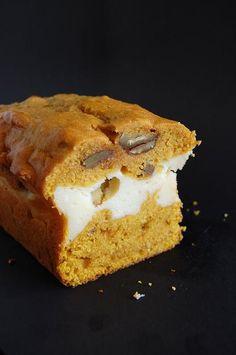 Pumpkin spice bread w/ Maple Cheesecake layer.  Oooohhh.....