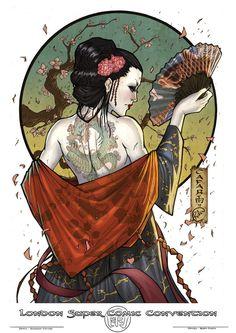 LSCC Tamplate – Japan by Giuseppe-Cafaro on DeviantArt – katana Geisha Tattoos, Geisha Tattoo Design, Irezumi Tattoos, Geisha Drawing, Geisha Art, Geisha Anime, Japanese Artwork, Japanese Tattoo Art, Samurai Artwork