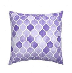 Moroccan Pillow Sham - Textured Purple Moroccan by micklyn - Watercolor Quatrefoil Girl Cotton Sateen Pillow Sham Bedding by Spoonflower Pillow Shams, Purple Pillows, Pillow Texture, Back Pillow, Cozy Bed, Quatrefoil, Surface Design, Moroccan