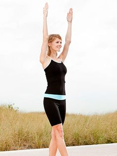 Balance Walk  Targets: Abs and hips  Step forward with right foot, raising arms straight overhead, palms facing each other. (Arms reach top as right heel touches down.)