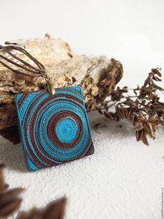 Купить Геометрия любви Бирюзовый кулон Шоколадная подвеска Полимерная глина - восточный стиль