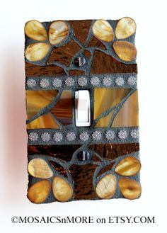Chocolate and Organic  SINGLE Mosaic Light Switch by MOSAICSnMORE