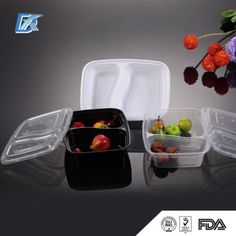 Disposable 2 Compartment Plastic Food Containers