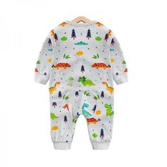 d94d729a02f3 Allover Adorable Dinosaur Pattern Long Sleeve Snap-up Jumpsuit in Grey for  Baby and Newborn