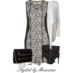 """Black & White Dress Outfit"" by mozeemo on Polyvore"
