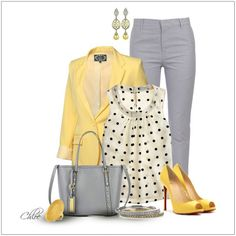 CHATA'S DAILY TIP: We continue our love of yellow, in all shades from light to dark. This ensemble, soft yellow co-ordinated with grey, works so well for Soft to Medium skin tones. Deep to Rich skin tones should opt for a richer yellow. Dropped earrings are the perfect style choice if you have a round or square face shape. COPY CREDIT: Chata Romano Image Consultant, Erika Swanepoel http://chataromano.com/consultant/erika-swanepoel/ IMAGE CREDIT: Pinterest