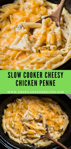 Crock pot cheesy chicken penne recipe is the best comfort food and loaded with tons of creamy chicken and cheesy pasta. The slow cooker doe. Slow Cooker Huhn, Slow Cooker Recipes, Beef Recipes, Cooking Recipes, Healthy Recipes, Slow Cooker Dinners, Cheesy Recipes, Salad Recipes, Healthy Food