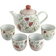 Pier 1 Red Flowers Teapot Set