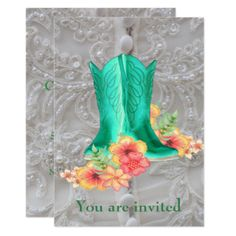 Shop Western Wedding Cowboy Boots Flowers And Lace Invitation created by RODEODAYS. Western Wedding Invitations, Lace Invitations, Western Party Supplies, Wedding Cowboy Boots, Lace Background, Western Parties, Lace Weddings, Western Weddings, Diy Wedding