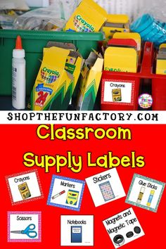 """""""sweepstakes"""" Supply labels with pictures! Kids who can not read yet or your ESL students can even keep things in order with these awesome labels since they have the pictures with the words. The resource has 2 sets of 72 labels, one colorful and one with Classroom Supplies, Classroom Organization, Classroom Ideas, Classroom Management, First Grade Classroom, School Classroom, Kindergarten Classroom, Teacher Blogs, Teacher Resources"""