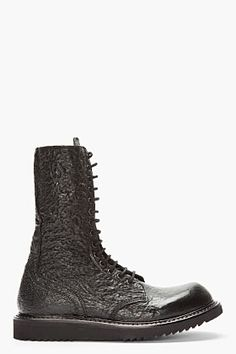 Rick Owens Black Textured Leather Combat Boots for men | SSENSE