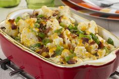 If you love the taste of a loaded baked potato, but can't fit it into your diabetic diet, then you're going to love this healthier-for-you recipe for Loaded Cauliflower Casserole. We swapped the potato for cauliflower and kept all the same toppings y