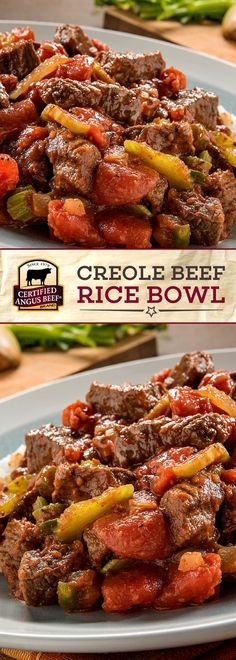 Certified Angus Beef®️️️️️ brand Creole Beef Rice Bowl is SO easy to make! Just three steps will have this tasty dish on your table. Made with the BEST bottom round steak and the perfect spice blend and peppers, this DELICIOUS beef recipe serves perfectly over rice! #bestangusbeef #certifiedangusbeef #beefrecipe #easyrecipes #creolefood