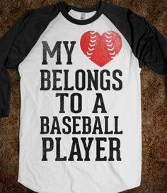 My Heart Belongs To A Baseball Player (Red Heart) - Sports Girl - Skreened T-shirts, Organic Shirts, Hoodies, Kids Tees, Baby One-Pieces and Tote Bagsm