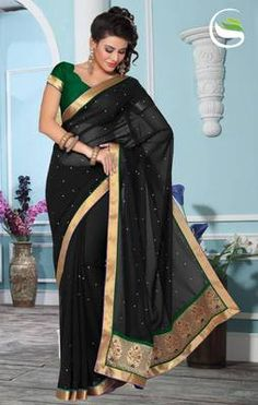 Party wear Black faux georgette saree with blouse
