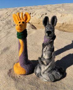 GfK-WoGi 4 Wolf, Kangaroo, Giraffe, Animals, Display Window, Figurines, Animais, Animales, Animaux