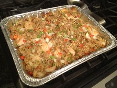 It tastes like a giant crab cake! Crab and Shrimp Casserole (made with stuffing/ dressing mix) new mom meal one pan baked seafood dinner potluck cajun soul food HeatherBakes
