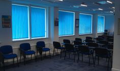 An example of vertical window blinds that were installed into an office. www.blindsplymouth.co.uk Vertical Window Blinds, Blinds For Windows, Roller Blinds, Plymouth, Krakow, Warsaw, Devon, Poland, Chairs