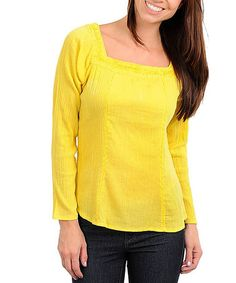 Take a look at this Yellow Square Neck Long-Sleeve Top by Buy in America on #zulily today!