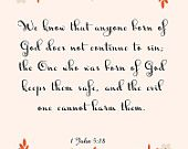 Bible Verse Art- 1 John 5:18- 8.5X11 Printable - BV-191