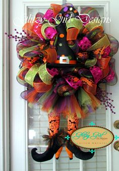 Witch Hat Wreath with Tutu skirt by GlitzyGirlDesigns on Etsy, $135.00
