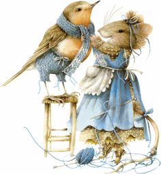 Vera the Mouse knitting and fitting the scarf by Marjolien Bastin