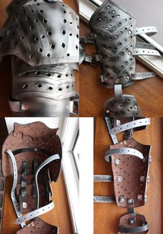 Natural leather metalic blue armor by RottenPearl on Etsy