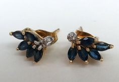 Vintage Marquise Cut Blue Sapphire Diamond 14k by BiMiDesign