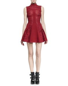 B2YBD Alexander McQueen Sleeveless Mock-Neck Dress, Madder Red