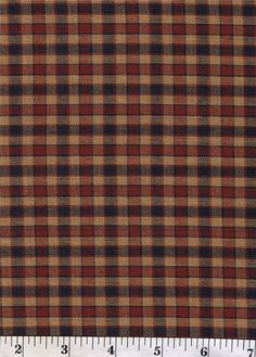 Dunroven House H-28 Navy Blue & Dark Red Checked  Fabric 1/2 Yd Cut Off The Bolt #DunrovenHouse