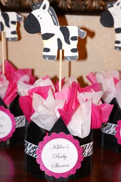 Zebra Print Baby Shower or Birthday Centerpieces