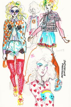 Meadham Kirchoff illustration (With images) Fashion Illustration Portfolio, Fashion Design Portfolio, Fashion Design Drawings, Fashion Sketches, Illustration Art, Fashion Illustration Collage, Fashion Illustrations, Fashion Books, Fashion Art