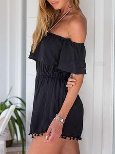 Black Off Shoulder Elastic Waist Pom Pom Romper Playsuit   Choies