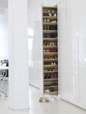 100 Fantastic Creative Hidden Shelf Storage Ideas Worth to apply in Small House - DecOMG Shoe Shelves, Storage Shelves, Storage Organization, Storage Ideas, Closet Bedroom, Shoe Closet, Hall Closet, Master Closet, Bedroom Bed