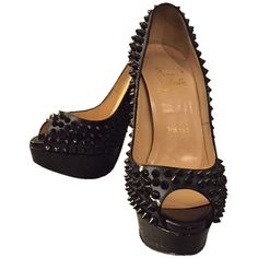 Pre-owned Christian Louboutin Lady Peep Spike Black Patent Platforms ($620) ❤ liked on Polyvore featuring shoes, pumps, black patent, black patent leather pumps, high heel stilettos, christian louboutin pumps, peeptoe pumps and black platform pumps