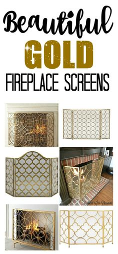 Wow! I never thought to try a gold fireplace screen in front of our fireplace. It updates it without no paint and no work! They are pretty inexpensive, too.