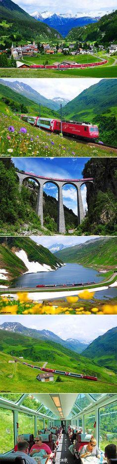 Switzerland express train - Glacier Express between St. Moritz and Zermatt.  Sounds wonderful!