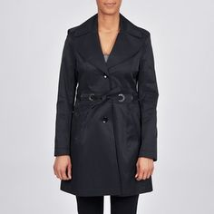 @Overstock.com - Via Spiga Women's Belted Water Resistant Trench Coat - Even the worst weather won't dampen your style when you wear this women's single-breasted trench coat from Via Spiga. Its full lining, belt, and exterior pockets make this black water-resistant coat as functional as it is fashionable.   http://www.overstock.com/Clothing-Shoes/Via-Spiga-Womens-Belted-Water-Resistant-Trench-Coat/6501887/product.html?CID=214117 $82.99