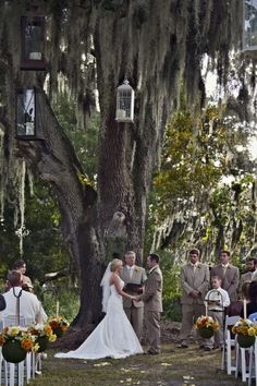 Outdoor, Rustic wedding - only thing missing is it being dark and twinkle lights all around the tree trunk!