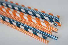 DenVer BronCo's paper straws orange and by TheShindiggityShoppe, $4.00