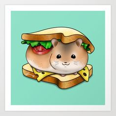 HamHam Sandwich Art Print by Akiraj - X-Small Sandwich Drawing, Canvas Art Prints, Artwork Prints, Pet Rodents, Hamsters, Affordable Art, Metal Wall Art, Vibrant Colors, Cartoon