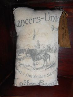 PrimiTive GrunGy Lancers Union Coffee Civil War 1862 PiLLow CupBoard TucK  #Primitivestyle #Nannysattic15 Ebay $5.00