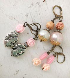 tresRosehomespun repurposed upcycled trio of earrings by Arey