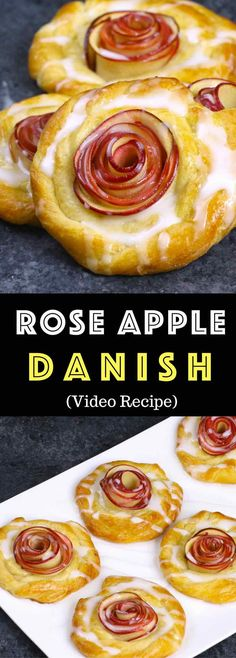 Rose Apple Danish – one of the easiest pastry recipes that also look gorgeous. It takes only about 20 minutes. All you need is only 5 simple ingredients: crescent roll dough, red apples, lemon juice, brown sugar, butter and egg. So beautiful! Quick and easy recipe. Vegetarian. Video recipe.