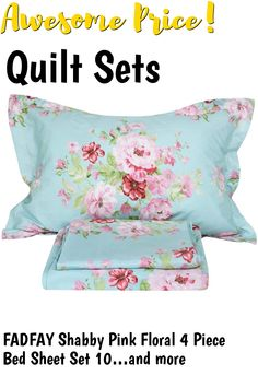 (This is an affiliate pin) FADFAY Shabby Pink Floral 4 Piece Bed Sheet Set 100% Cotton Deep Pocket-Queen