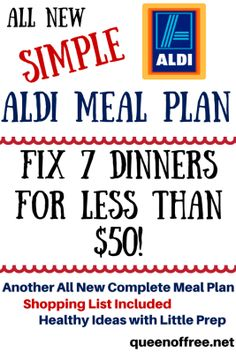 WOW! $49.75 in Groceries at ALDI can make 7 dinners for a family of 4. Check out the full meal plan, grocery list, and simple meal ideas here!