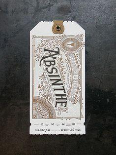 Stranger & Stranger Spirit Tag - Absinthe Custom letterpress production by Cranky Pressman for Stranger & Stranger Holiday Gifts. Vintage Typography, Typography Letters, Typography Logo, Graphic Design Typography, Graphic Design Illustration, Hand Lettering, Ticket Design, Tag Design, Label Design